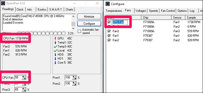 Переименование параметров SpeedFan