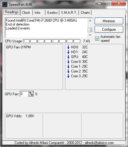 Главное окно программы SpeedFan