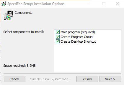 Выбор компонентов для установки программы SpeedFan